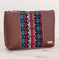 Cotton accent leather cosmetic bag, 'San Antonio Flowers' - Floral Cotton Accent Leather Cosmetic Bag from Guatemala