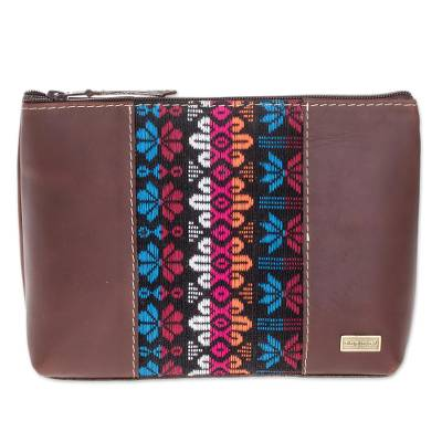 Floral Cotton Accent Leather Cosmetic Bag from Guatemala