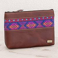 Cotton accent leather cosmetic bag, 'San Marcos Diamonds' - Diamond Motif Cotton Accent Leather Cosmetic Bag