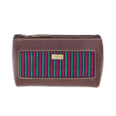 Striped Leather Accent Cotton Cosmetic Bag from Guatemala