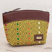 Leather accent cotton cosmetic bag, 'Maize Diamonds' - Leather Accent Cotton Cosmetic Bag in Maize from Guatemala