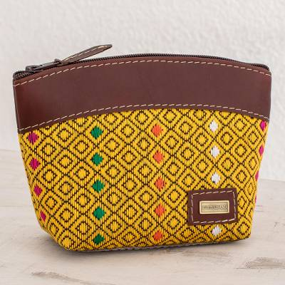 Leather accent cotton cosmetic bag, Maize Diamonds