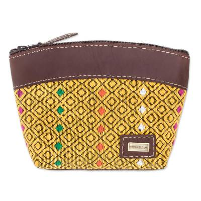 Leather Accent Cotton Cosmetic Bag in Maize from Guatemala