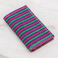 Leather accent cotton wallet, 'San Antonio Stripes' - Striped Leather Accent Cotton Wallet from Guatemala