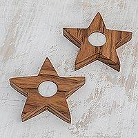 Wood tealight holders, 'Stellar Light' (pair) - Star-Shaped Wood Tealight Holders from Guatemala (Pair)