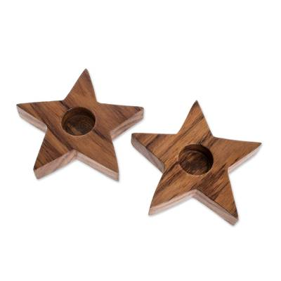 Star-Shaped Wood Tealight Holders from Guatemala (Pair)