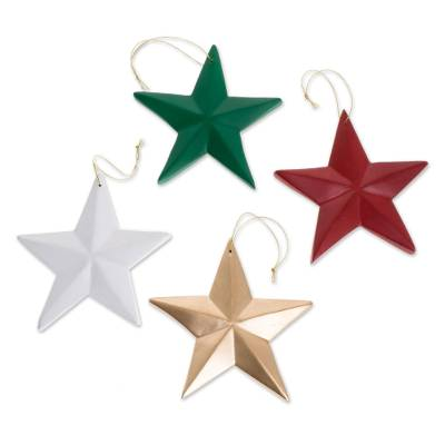 Assorted Wood Star Ornaments from Guatemala (Set of 4)