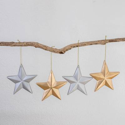 Wood ornaments, 'Silver and Gold' (set of 4) - Silver and Gold Wood Star Ornaments (Set of 4)