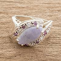 Jade cocktail ring, 'Lilac Eye' - Lilac Jade Cocktail Ring from Guatemala