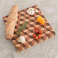 Wood cutting board, 'Cube Land' - Handcrafted Geometric Wood Cutting Board from Guatemala