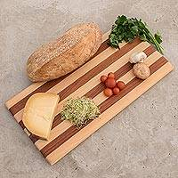 Wood cutting board, 'Harmony Lines' - Striped Cypress and Chechen Wood Cutting Board