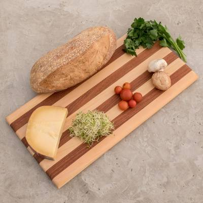 Striped Cypress and Chechen Wood Cutting Board, 'Harmony Lines'