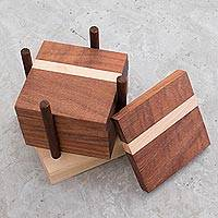 Wood coasters and holder, 'Home Harmony' (set of 6) - Dark Brown Wood Coasters and Holder (Set of 6)