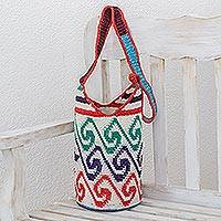 Cotton bucket bag, 'Colorful Waves' - Cotton Bucket Bag with Colorful Wave Motifs from Guatemala
