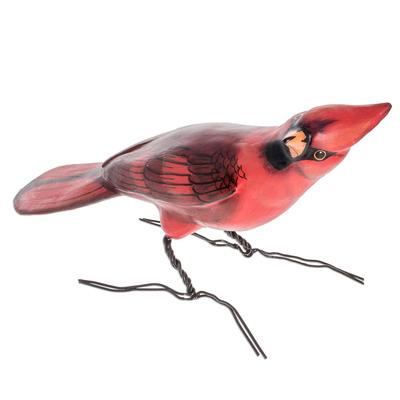 Ceramic sculpture, 'Cardinal' - Ceramic Cardinal Sculpture from Guatemala