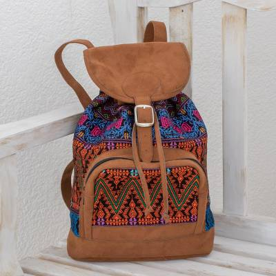 Cotton backpack, 'Multicolored Night' - Handwoven Multicolored Cotton Backpack from Guatemala