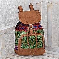 Cotton backpack, 'Multicolored Brilliance' - Vibrant Handwoven Cotton Backpack from Guatemala