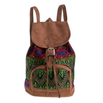 Vibrant Handwoven Cotton Backpack from Guatemala