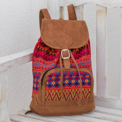 Cotton backpack, 'Flowers of Comalapa' - Zigzag Motif Handwoven Cotton Backpack from Guatemala