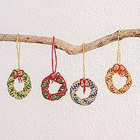 Glass bead ornaments, 'Wreaths in Assorted Colors' (set of 4) - Glass Bead Wreath Ornaments Assorted Colors (Set of 4)