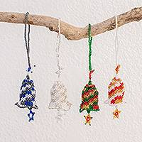 Glass bead ornaments, 'Star Bells' (set of 4) - Glass Bead Bell Ornaments Assorted Colors (Set of 4)
