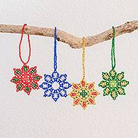 Glass bead ornaments, 'Colorful Starbursts' (set of 4) - Glass Bead Starburst Ornaments Assorted Colors (Set of 4)