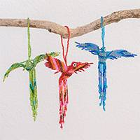 Glass bead ornaments, 'Colors in Flight' (set of 3) - Glass Bead Assorted Color Bird Holiday Ornaments (Set of 3)