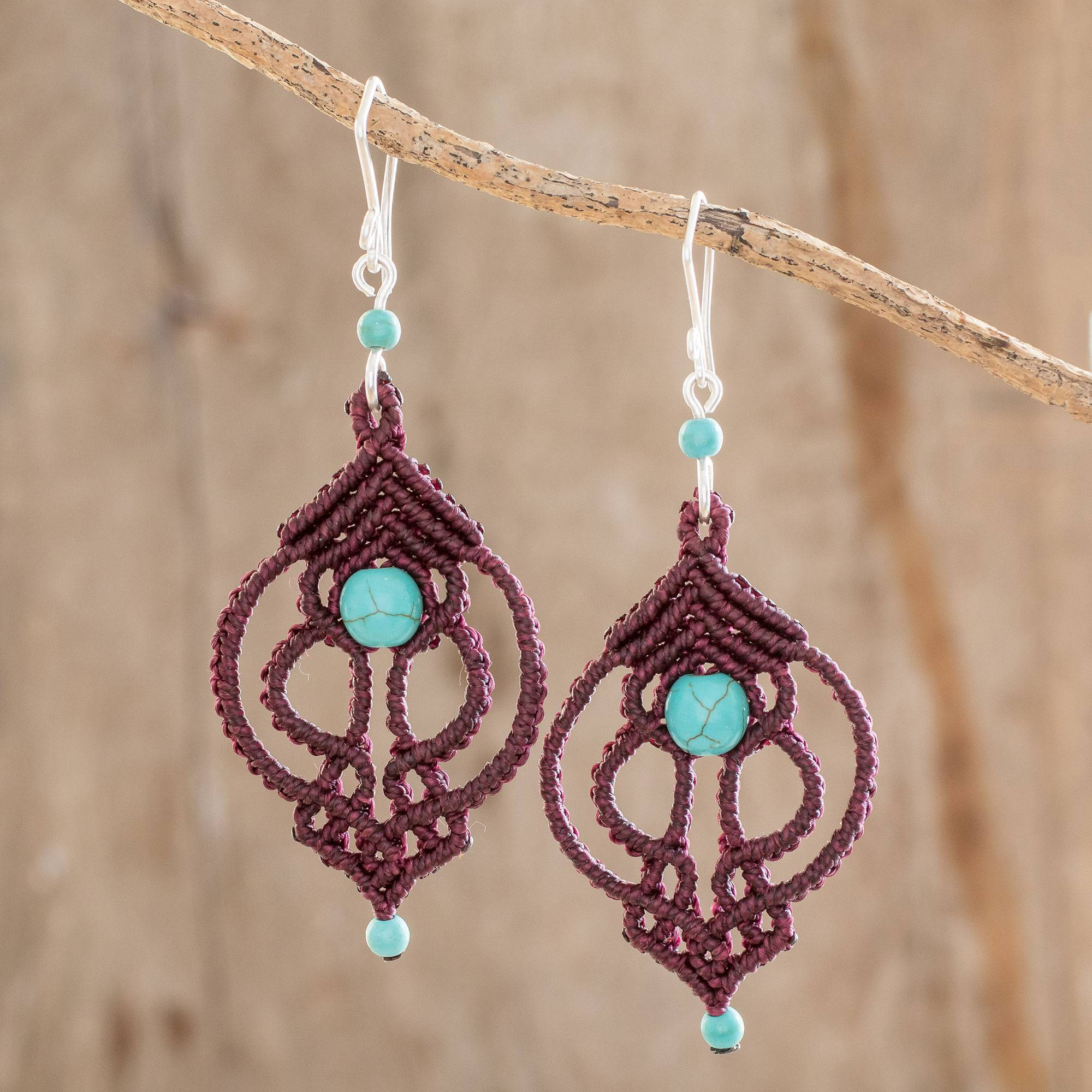 Macrame dangle earrings