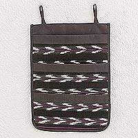 Cotton blend hanging organizer, 'Chevron Serenity' - Chevron Motif Cotton Blend Hanging Organizer from Guatemala