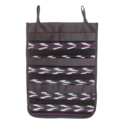Chevron Motif Cotton Blend Hanging Organizer from Guatemala
