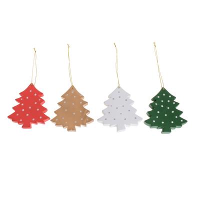 Assorted Wood Christmas Tree Ornaments (Set of 4)