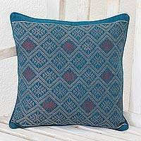 Cotton cushion cover, 'Azure Geometry' - Geometric Cotton Cushion Cover in Azure from Guatemala