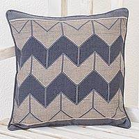Cotton cushion cover, 'Chevron Geometry' - Chevron Motif Cotton Cushion Cover from Guatemala