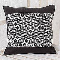 Cotton cushion cover, 'Dove Grey Rhombi' - Rhombus Motif Cotton Cushion Cover from Guatemala