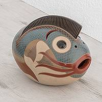 Ceramic sculpture, 'Beneath the Water' - Hand-Painted Ceramic Fish Sculpture from Nicaragua