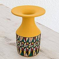 Ceramic decorative vase, 'Kaleidoscopic Geometry' - Hand-Painted Geometric Ceramic Decorative Vase in Yellow