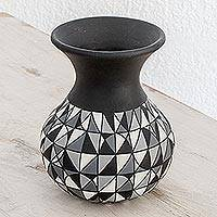 Ceramic decorative vase, 'Elegant Geometry' - Geometric Ceramic Decorative Vase from Nicaragua
