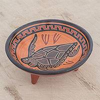 Ceramic decorative plate, 'Marine Fauna' - Handcrafted Sea Turtle Ceramic Decorative Plate
