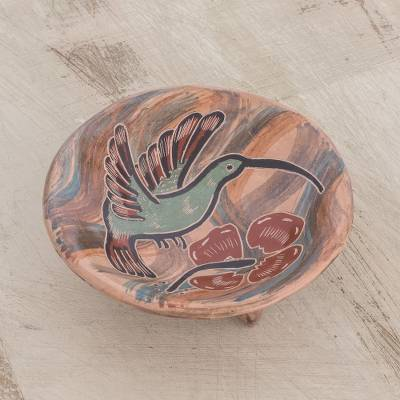 Ceramic decorative footed bowl, 'Beautiful Hummingbird' - Handcrafted Hummingbird Ceramic Footed Bowl