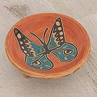 Ceramic decorative footed bowl, 'Watchful Butterfly' - Handcrafted Butterfly Ceramic Decorative Footed Bowl