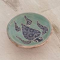 Ceramic decorative plate, 'Black Sea Turtle' - Sea Turtle Ceramic Decorative Plate in Green from Costa Rica