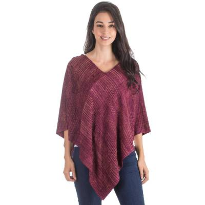 Handwoven Rayon Poncho with Striped Patterns from Guatemala