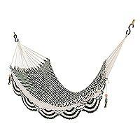 Cotton rope hammock, 'Nap in the Forest' (single) - Handwoven Cotton Rope Hammock in Forest Green and Eggshell