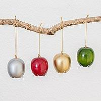 Reclaimed wood ornaments, 'Magnificent Orchard' (set of 4) - Assorted Reclaimed Wood Apple Ornaments (Set of 4)