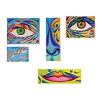 Polyptych, 'Portrait' (set of 5) - Signed Polyptych Portrait Paintings (Set of 5)