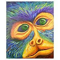 'Howler' - Signed Expressionist Howler Monkey Painting from Costa Rica