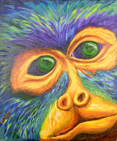 Signed Expressionist Howler Monkey Painting from Costa Rica