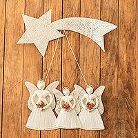Natural fiber wall sculpture, 'Angels with Flowers' - Natural Fiber Angel Wall Sculpture from Costa Rica