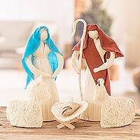 Natural fiber nativity scene, 'Peace and Unity' (set of 6) - Natural Fiber Nativity Scene from Costa Rica (Set of 6)