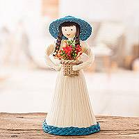 Natural fiber statuette, 'Country Flowers' - Natural Fiber Statuette of a Woman Gathering Flowers